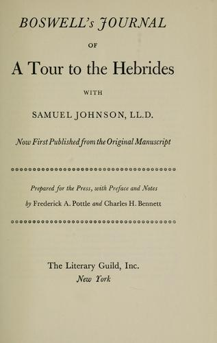 Download Boswell's Journal of a tour to the Hebrides with Samuel Johnson, LL.D.