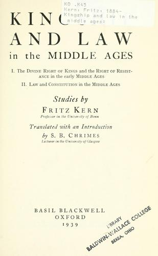 Kingship and law in the middle ages