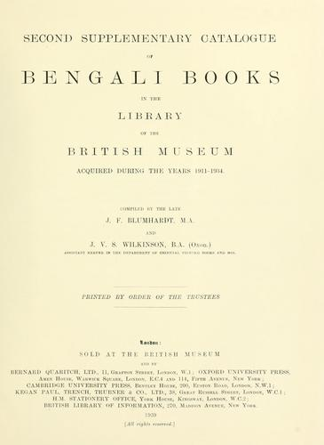 Catalogue of Bengali printed books in the library of the British Museum.