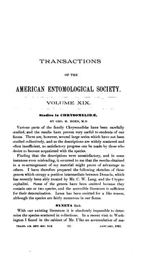 Transactions of the American Entomological Society.