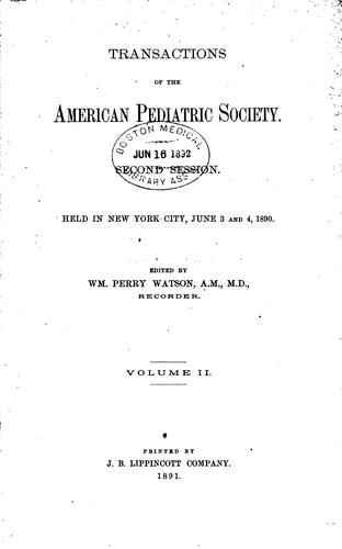 Transactions of the American Pediatric Society