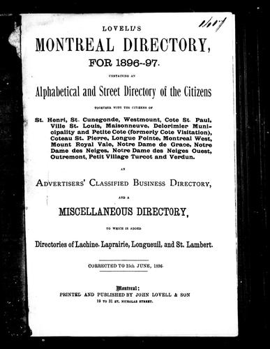 Lovell's Montreal directory for 1896-97 by