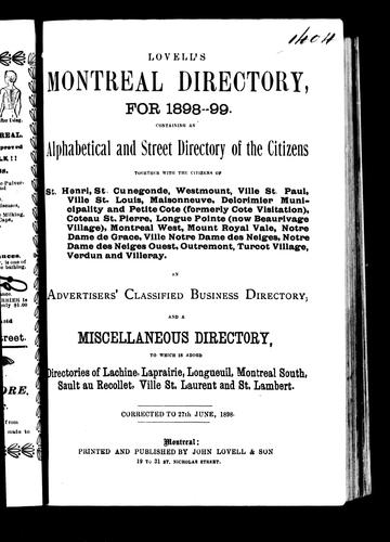 Lovell's Montreal directory for 1898-99 by