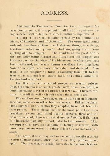 An address delivered before the Springfield Washingtonian Temperance Society by Abraham Lincoln