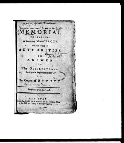 A Memorial containing a summary view of facts, with their authorities by Jacob Nicolas Moreau