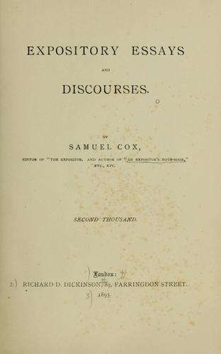 Expository essays and discourses by Samuel Cox
