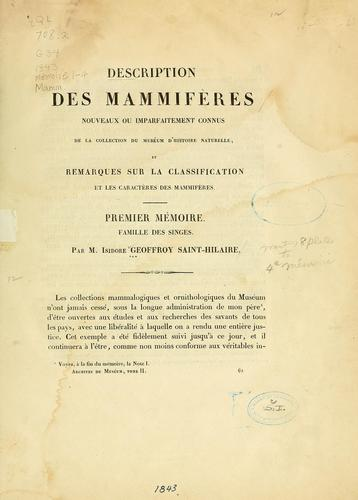 Description des mammifères by Isidore Geoffroy Saint-Hilaire