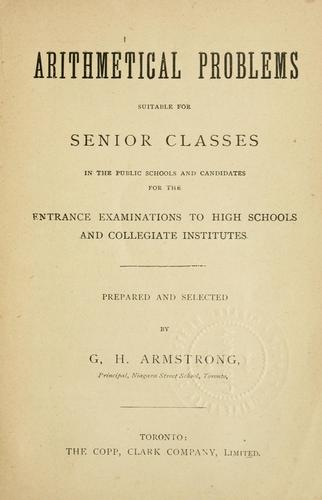 Arithmetical problems by George Henry Armstrong