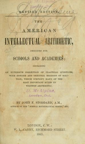 The American intellectual arithmetic by John F. Stoddard