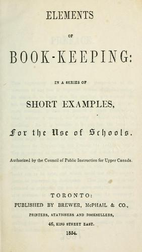 Elements of book-keeping by Canada. Council of Public Instruction for Upper Canada