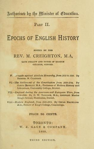 Epochs of English history by M. Creighton