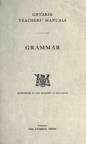 Grammar / authorized by the Minister of Education by