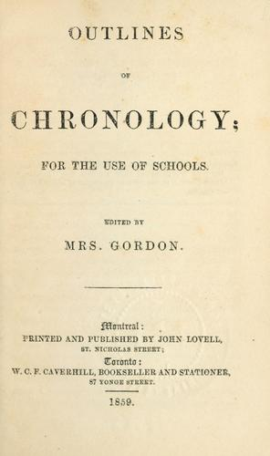 Outlines of chronology by Mrs Gordon