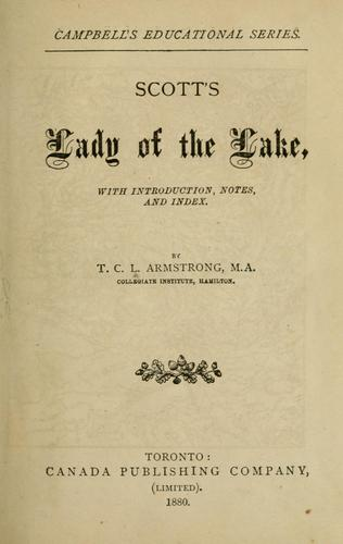 Scott's Lady of the lake by Sir Walter Scott