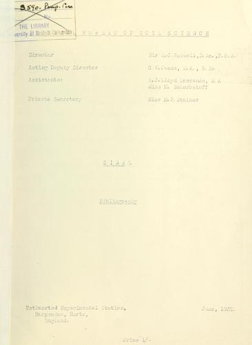 Sisal, bibliography by Commonwealth bureau of Soils, Harpenden, Eng