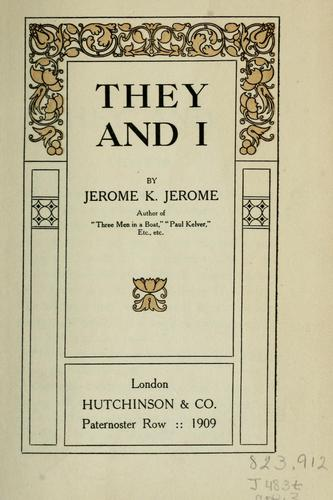They and I by Jerome Klapka Jerome