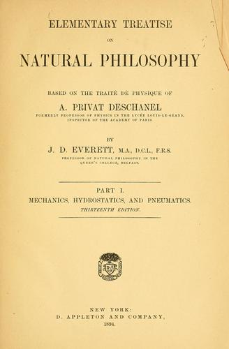 Elementary treatise on natural philosophy by A. Privat-Deschanel