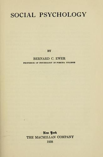 Social psychology by Bernard Capen Ewer