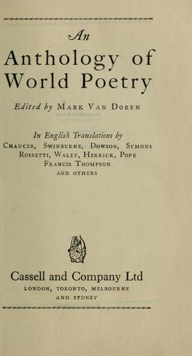 An anthology of world poetry by Mark Van Doren