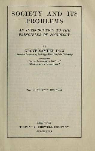 Society and its problems by Grove Samuel Dow
