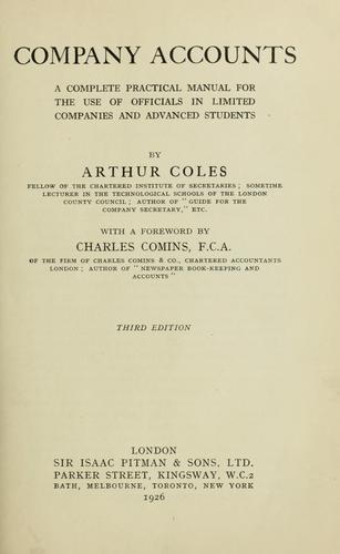 Company accounts by Arthur Coles