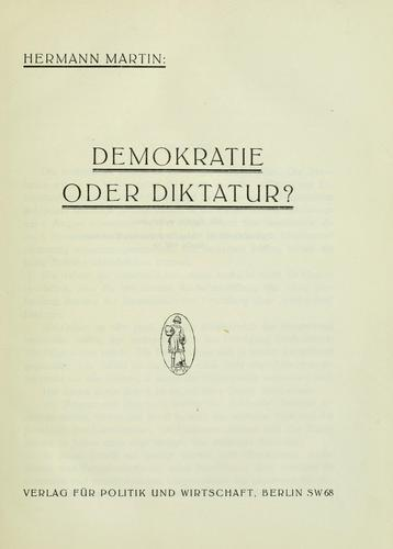 Demokratie der Dikatur? by Hermann Martin