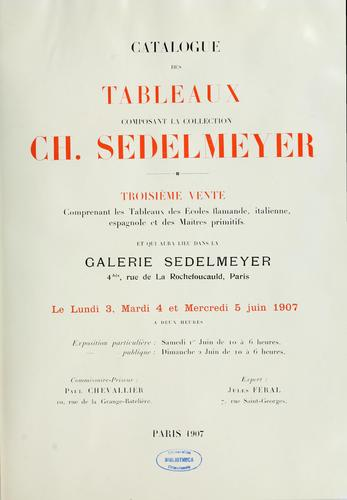 Catalogue de tableaux composant la collection Ch. Sedelmeyer by Charles Sedelmeyer
