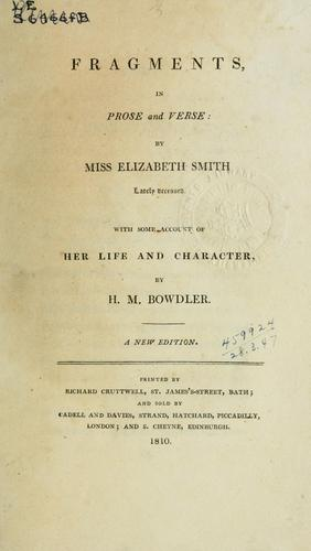 Fragments, in prose and verse by Smith, Elizabeth