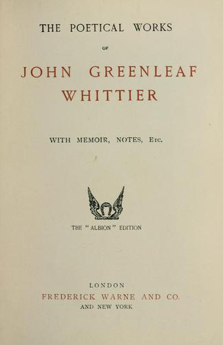 The poetical works by John Greenleaf Whittier