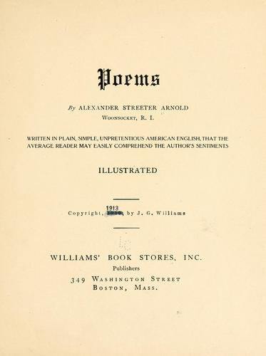 Poems by Alexander Streeter Arnold