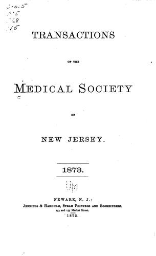 Transactions by Medical Society of New Jersey