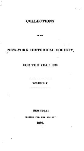 Collections of the New-York Historical Society by New York Historical Society