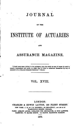Journal of the Institute of Actuaries and Assurance Magazine by Institute of Actuaries (Great Britain )