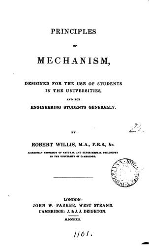 Principles of mechanism by Robert Willis