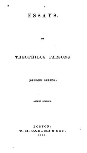 Essays by Theophilus Parsons