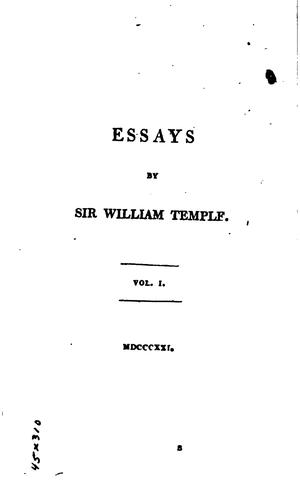 Essays by Sir William Temple
